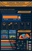 stock photo of lorries  - Cargo transportation infographics trucks lorry - JPG