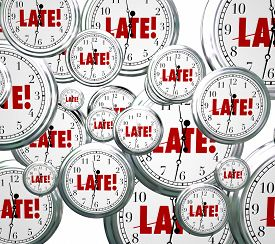 image of running-late  - Late word on clocks flying by to illustrate being tardy - JPG
