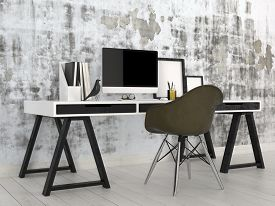pic of monochromatic  - 3D Rendering of Stylish modern black and white office interior with a trestle desk with desktop computer - JPG