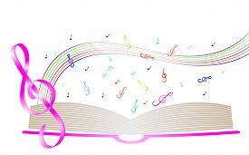 pic of rainbow piano  - Colorful background with treble clef and open book - JPG