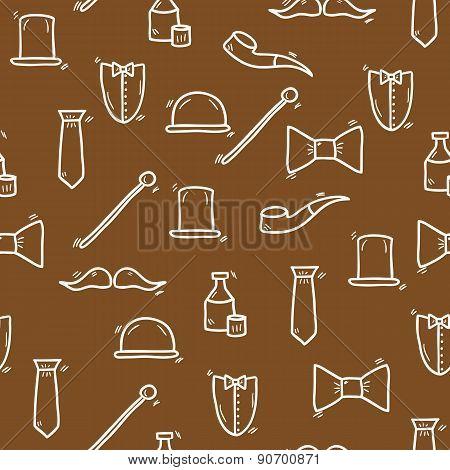 Seamless hand drawn background on gentlemen club theme