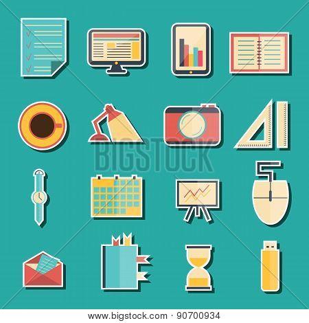 Set of flat stickers on freelance workflow theme