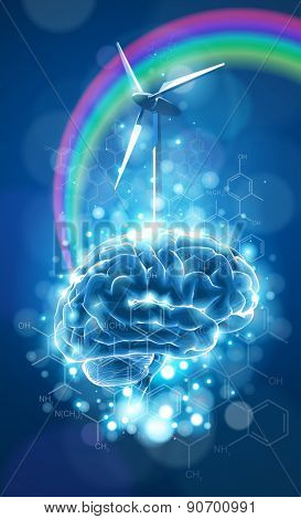 Ecology concept: brain, rainbow & windmill - wind power generator, blue bokeh abstract light background  / vector illustration / eps10