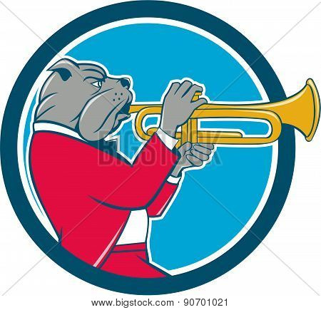 Bulldog Blowing Trumpet Side Circle Cartoon