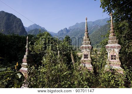 Buddhist cemetery at Ban Phatang, Lao people democratic republic