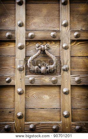 Ancient Door Knocker Of A Medieval Portal