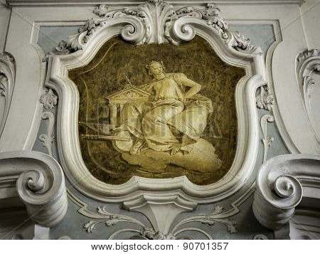 The Ornament Of A Fireplace Hood In A Neo Classical Villa