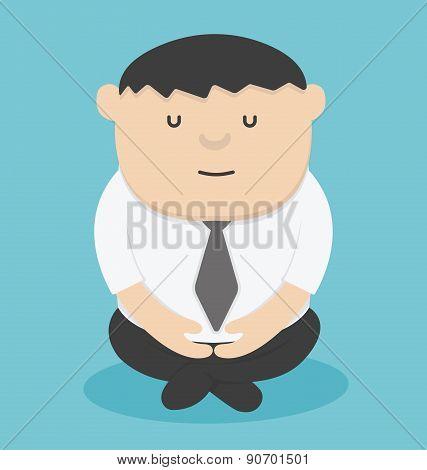 Businessman Meditating Cartoon