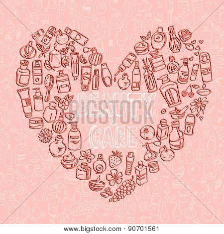 Doodle Cosmetic Products Heart Shaped Background
