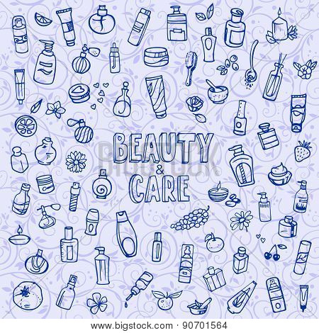 Doodle Cosmetics And Self-care Icons
