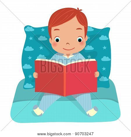 A Boy Reading Book On Bed