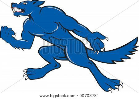 Wolf Dog Clenching Fist Cartoon