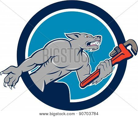 Wolf Plumber Monkey Wrench Circle Cartoon