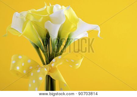 Yellow And White Theme Calla Lilly Wedding Bouquet