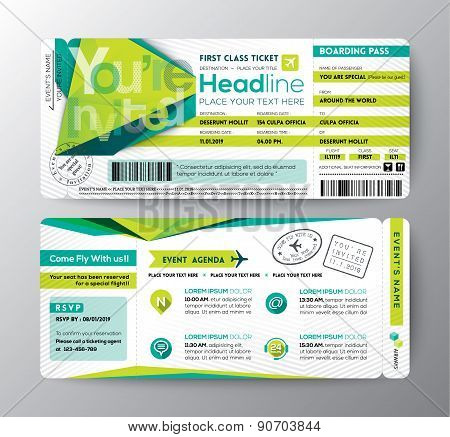 Abstract Polygon Design Boarding Pass Event Ticket Invite Card