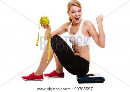 Woman Raising Her Arms. Successful Dieting Slimming