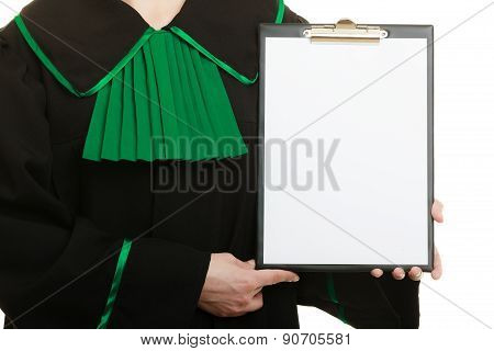 Woman Lawyer Holding Empty Blank Clipboard