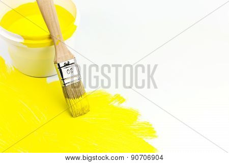 Yellow Paint Can With Paintbrush