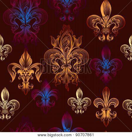 Heraldic Seamless Pattern With Fleur De Lis