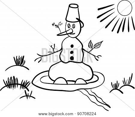 snowman in the spring comic vector illustration