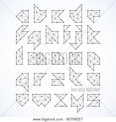 Low poly font, alphabet vector illustration