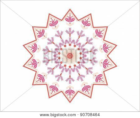 Pink and white Moroccan star - decorative element