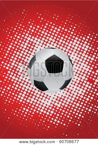 Soccor Ball With Red Background