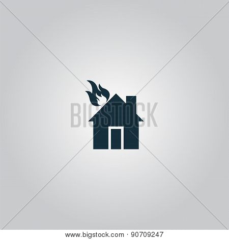 House on fire vector icon