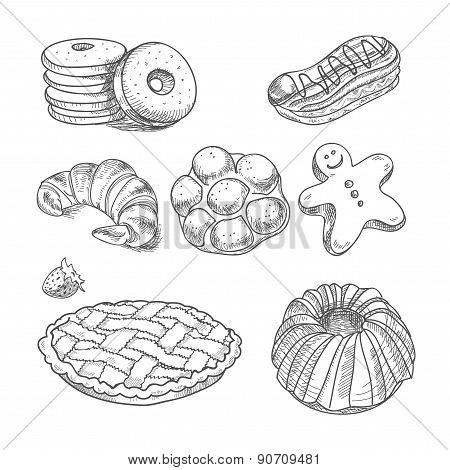 hand drawn sketch confections dessert pastry bakery products donut, pie, croissant, cookie