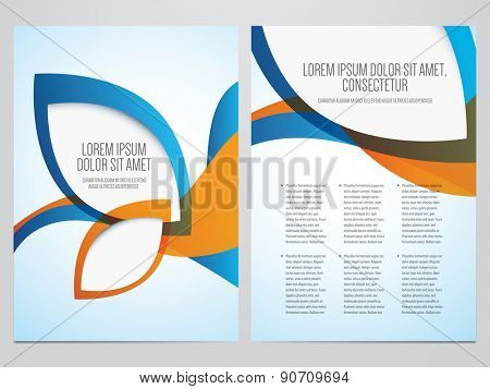 Vector business brochure, flyer template. Modern blue and orange corporate design.