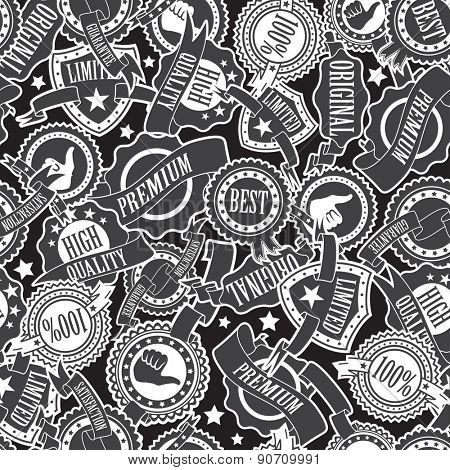 Abstract Badges and Ribbons Seamless Pattern
