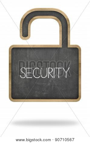Security concept on padlock shape black blackboard
