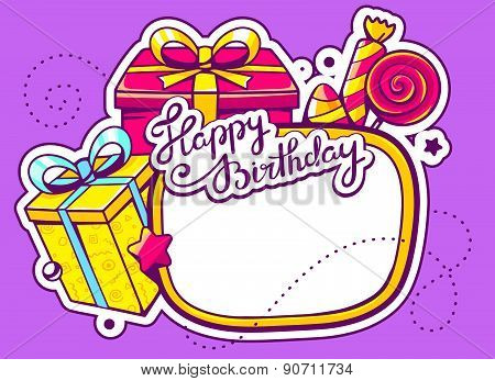 Vector Illustration Of Gift Boxes And Confection With Frame On Purple Background With Star And Dot.
