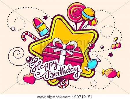 Vector Illustration Of Gift Box And Confection With Text Happy Birthday On Light Background With Sta