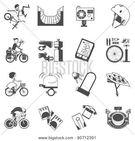 Cycling icon set black