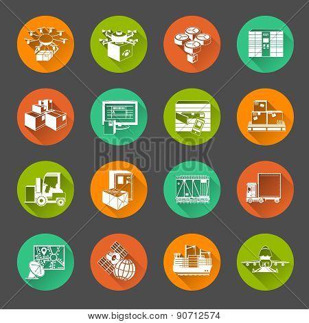 New logistics flat circle icons set