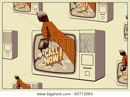 Call Now! Typographic retro poster. TV with a hand that is holding the telephone receiver. Vector il
