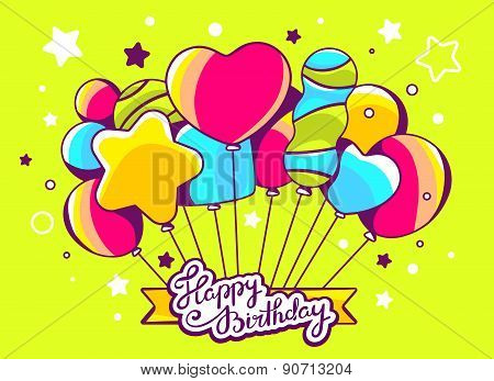 Vector Illustration Of Festive Bunch Of Colorful Striped Balloons With Ribbon And Text Happy Birthda