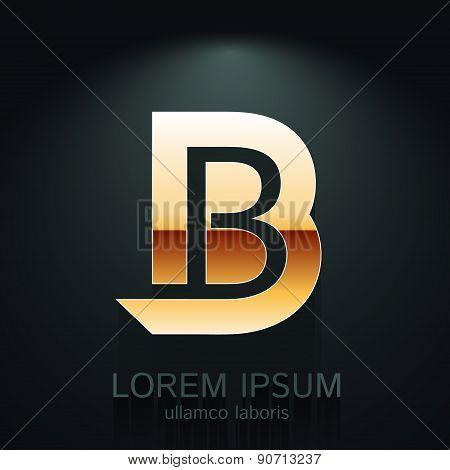 Vector Graphic Elegant Gold  Letter B