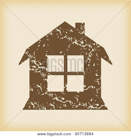Grungy house with window icon