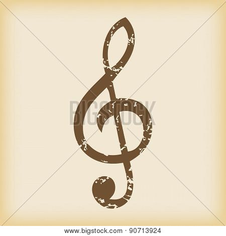 Grungy treble clef icon