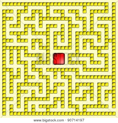 Yellow Square Maze-mosaic (15X15)