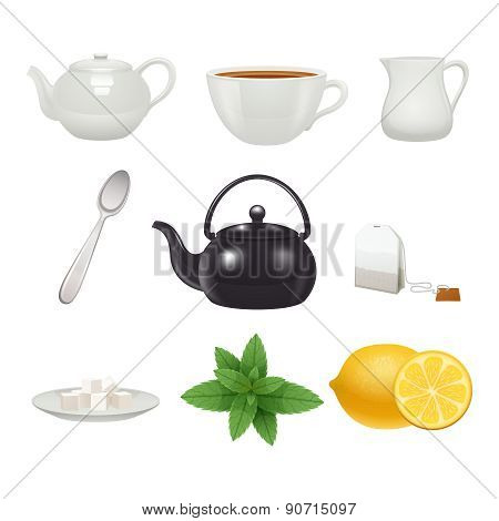 Tea set icons collection