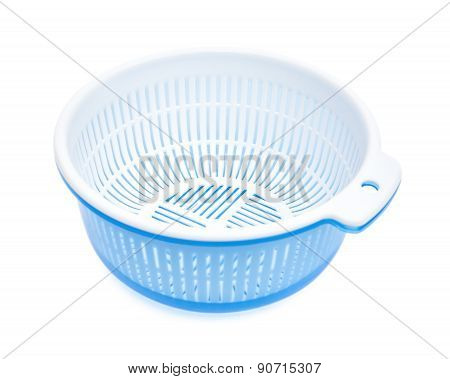 Plastic Basket With Tub On A White Background, Clipping Path Included