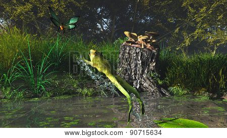 Jump of a frog