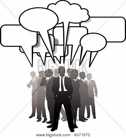 Business People Talking Communicate In Speech Bubbles