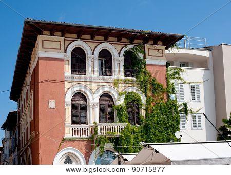 View On Old Building On The Street Obala Marsala Tita, Porec, Croatia
