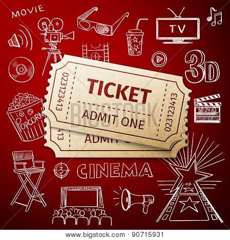 two tickets and hand draw cinema icon
