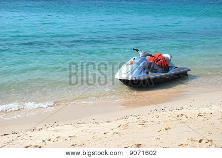 Jet Ski On The Beach.