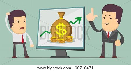 Business Growth Chart - a man at the presentation. Stock Vector illustration.
